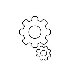 flat design style of gears icon on white black vector image