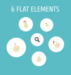 Flat icons gesture zoom out slide and other vector