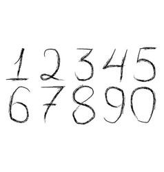 Font handwritten digits brush hand vector