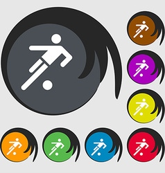 Football player icon Symbols on eight colored vector