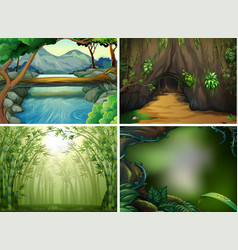 four different forest scenes vector image