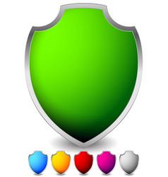 glossy blank shield shapes several colors vector image