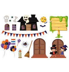 Halloween elements with haunted house and kids vector