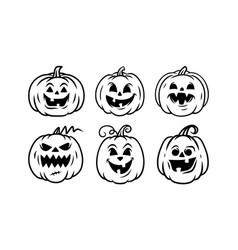 halloween pumpkin icon set jack o lantern icons vector image