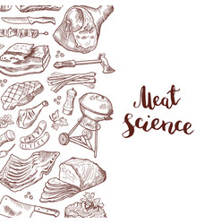 hand drawn meat elements vector image vector image