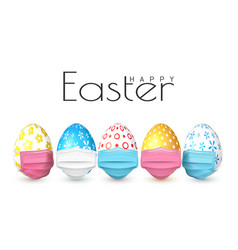 Happy easter color easter egg in medical face vector