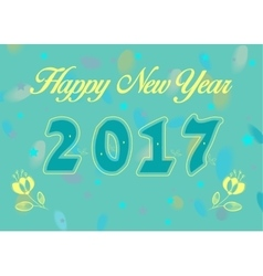 Happy New Year 2017 with yellow flowers vector image