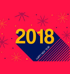 Happy new year 2018 retro fireworks greeting card vector