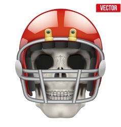Human skull with american football player helmet vector image
