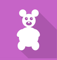 icon teddy bear toy on long shadow vector image