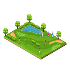 Isometric golf course concept vector