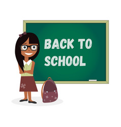 Kids template girl back to school vector