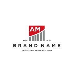 Letter am chart financial logo design vector