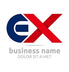 Letter e x alphabet element icon vector
