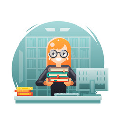 Library knowledge education learning librarian vector