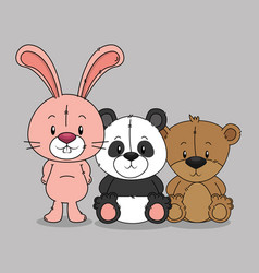 little cute animals group vector image