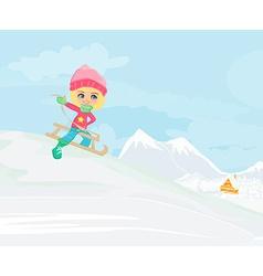 Little girl sledding vector