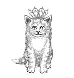 Little kitten wearing crown vector image