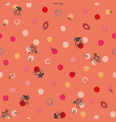 living coral pattern with flower bud and dots vector image