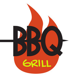 logo bbq grill on white background graphic vector image