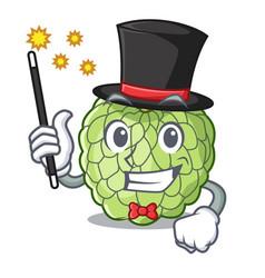 Magician ripe sugar apple fruit on mascot vector