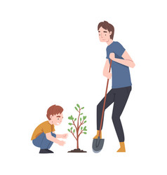 Man father and his kid planting tree sapling with vector