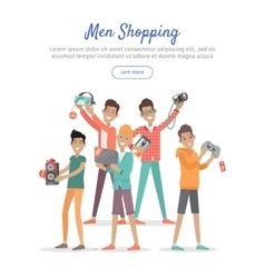 Man Shopping Conceptual Flat Web Banner vector