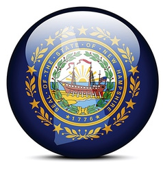 Map on flag button of USA New hampshire State vector
