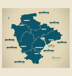 Modern map - devon county with districts and vector