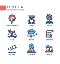 modern school and education thin line design icons vector image