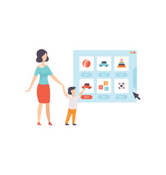 mom and her son choosing and bying toys from an vector image