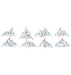 mountain route set vector image