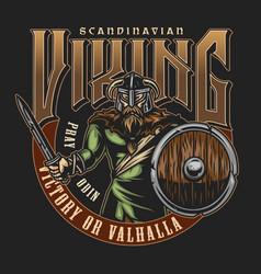 Old norse viking vintage label vector