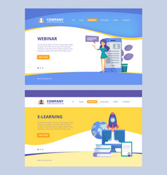online education landing trainings webinars e vector image