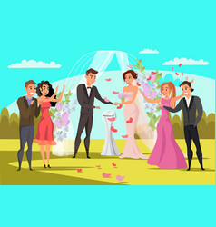 Open wedding ceremony flat vector