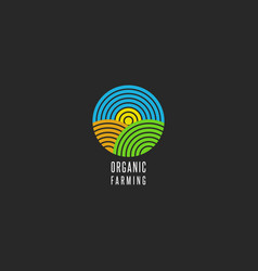 organic farm logo round shape abstract line style vector image