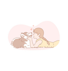 Owner dog pet friendship care concept vector
