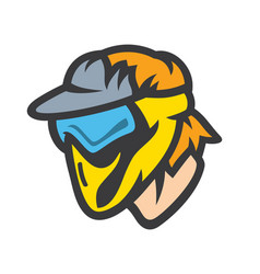 paintball player in mask sign vector image
