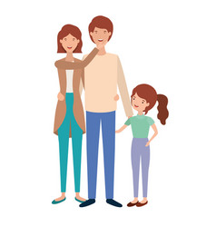 Parents couple with daughter avatar vector