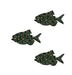 piranha fish spiral pattern color silhouette vector image