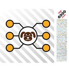 Puppycoin masternode links flat icon with bonus vector