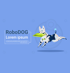 robotic dog hold credit card mobile payment for vector image