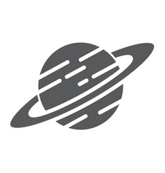 saturn glyph icon astronomy and space planet vector image