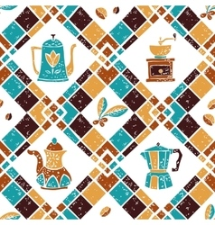 Seamless pattern Argyle and Coffeepots vector