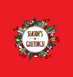 Seasons Greetings Christmas Doodle Red vector