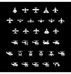 set icons planes and helicopters vector image