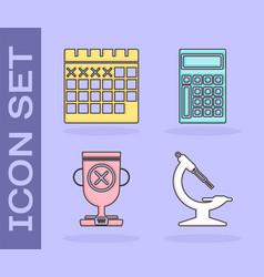 Set microscope calendar award cup and calculator vector