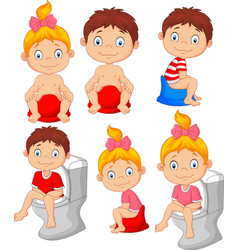 Set of cute little babies sitting on the potty vector