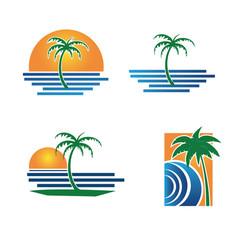 Set palm tree summer logo vector
