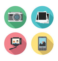 set photo camera instant photo frames vector image